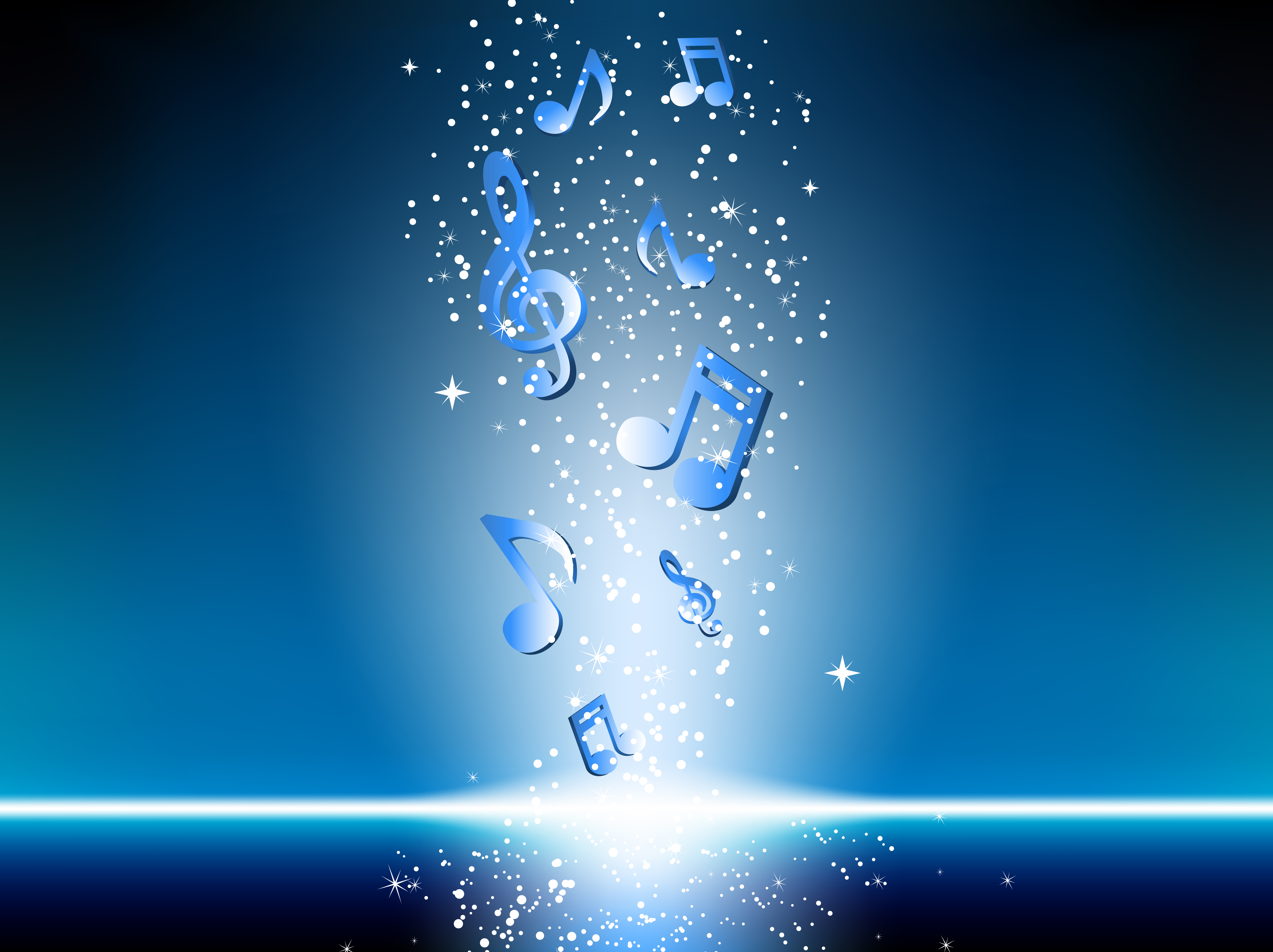 Blue background with music notes and stars. Editable Vector Image
